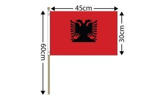 "Albania Large Hand Flag (18"" x 12"") - 12 PACK"
