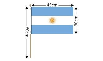 "Argentina Large Hand Flag (18"" x 12"") - 12 PACK"