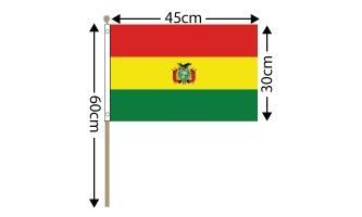 "Bolivia Large Hand Flag (18"" x 12"") - 12 PACK"