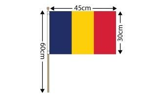 "Chad Large Hand Flag (18"" x 12"") - 12 PACK"