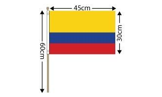 "Colombia Large Hand Flag (18"" x 12"") - 12 PACK"