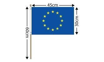 "European Union Large Hand Flag (18"" x 12"") - 12 PACK"