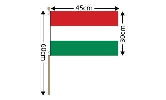"Hungary Large Hand Flag (18"" x 12"") - 12 PACK"