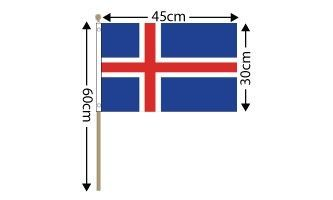 "Iceland Large Hand Flag (18"" x 12"") - 12 PACK"