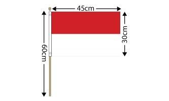 "Indonesia Large Hand Flag (18"" x 12"") - 12 PACK"