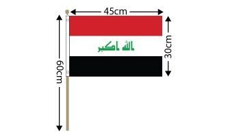 "Iraq Large Hand Flag (18"" x 12"") - 12 PACK"