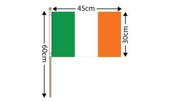 "Ireland Large Hand Flag (18"" x 12"") - 12 PACK"