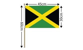 "Jamaica Large Hand Flag (18"" x 12"") - 12 PACK"