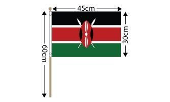 "Kenya Large Hand Flag (18"" x 12"") - 12 PACK"