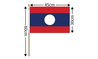 "Laos Large Hand Flag (18"" x 12"") - 12 PACK"