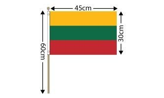 "Lithuania Large Hand Flag (18"" x 12"") - 12 PACK"