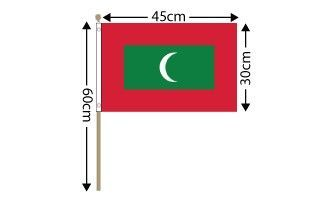 "Maldives Large Hand Flag (18"" x 12"") - 12 PACK"