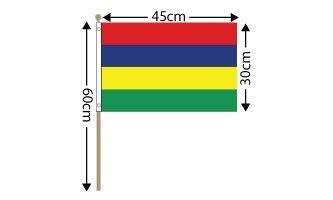 "Mauritius Large Hand Flag (18"" x 12"") - 12 PACK"