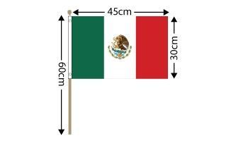 "Mexico Large Hand Flag (18"" x 12"") - 12 PACK"