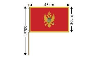 "Montenegro Large Hand Flag (18"" x 12"") - 12 PACK"