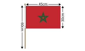 "Morocco Large Hand Flag (18"" x 12"") - 12 PACK"