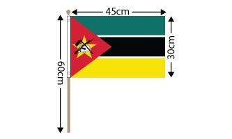 "Mozambique Large Hand Flag (18"" x 12"") - 12 PACK"