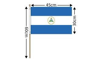 "Nicaragua Large Hand Flag (18"" x 12"") - 12 PACK"