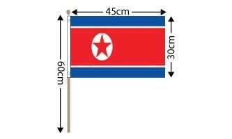 "North Korea Large Hand Flag (18"" x 12"") - 12 PACK"