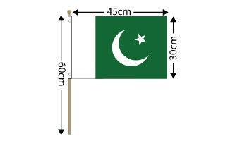 "Pakistan Large Hand Flag (18"" x 12"") - 12 PACK"
