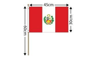 "Peru Large Hand Flag (18"" x 12"") - 12 PACK"