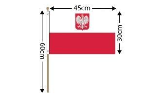 "Poland Eagle Large Hand Flag (18"" x 12"") - 12 PACK"