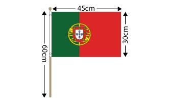 "Portugal Large Hand Flag (18"" x 12"") - 12 PACK"