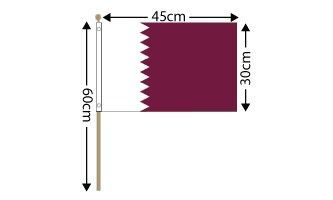 "Qatar Large Hand Flag (18"" x 12"") - 12 PACK"