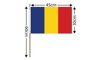 "Romania Large Hand Flag (18"" x 12"") - 12 PACK"