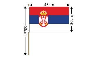 "Serbia Large Hand Flag (18"" x 12"") - 12 PACK"