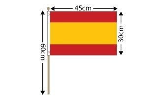 "Spain Large Hand Flag (18"" x 12"") - 12 PACK"