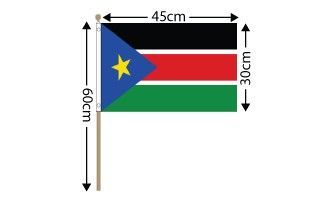"Sudan South Large Hand Flag (18"" x 12"") - 12 PACK"