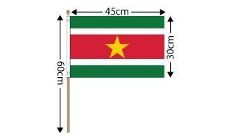 "Suriname Large Hand Flag (18"" x 12"") - 12 PACK"