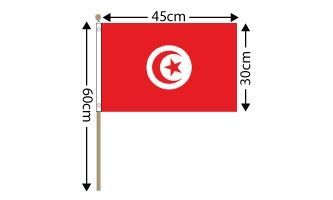 "Tunisia Large Hand Flag (18"" x 12"") - 12 PACK"