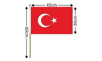 "Turkey Large Hand Flag (18"" x 12"") - 12 PACK"