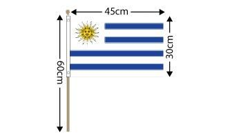 "Uruguay Large Hand Flag (18"" x 12"") - 12 PACK"